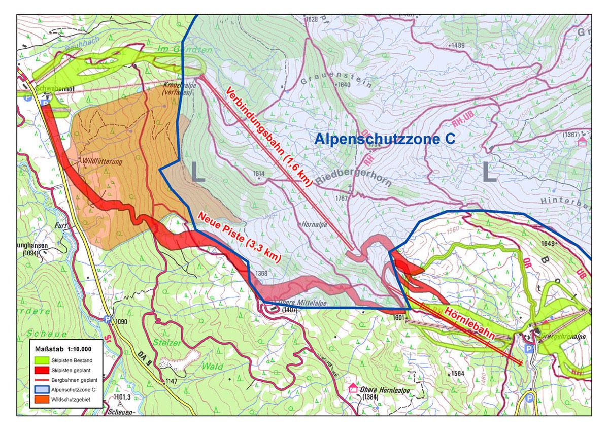 Riedberger Horn: So sieht die Planung für die Skischaukel aus. Die Trasse würde mitten durch das vom Alpenplan geschützte Gebiet verlaufen. Quelle: DAV